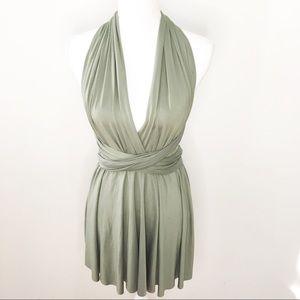 Green Multi-Way Tie Halter Dress 8